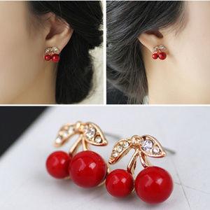 Gold plated cherries stud earrings NWOT